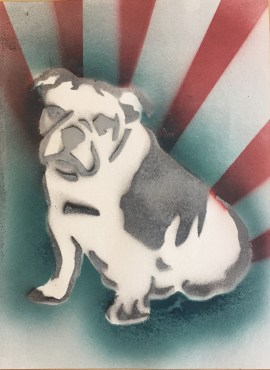 Bulldog Pride 8; Spray paint on paper, 9 x 12, $20