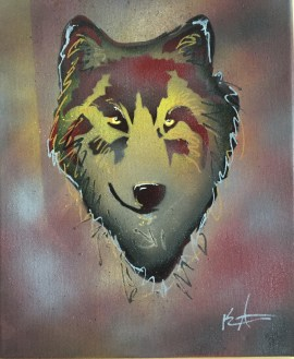 Wolf Pop 1; Spray paint and acrylic pen on stretched canvas, 11 x 17, $50