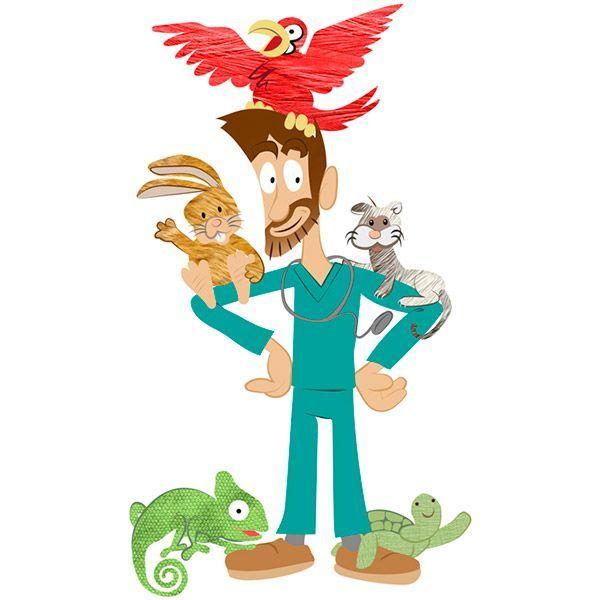 Caricatura de Javi con los animales exóticos