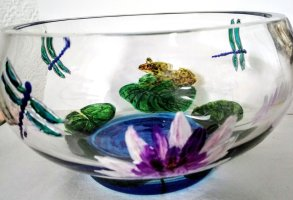 Frog and Lillies Glass Bowl hand painted