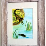 Acrylic and glass painting of an alligator on the shore and another in the water with his head showing.