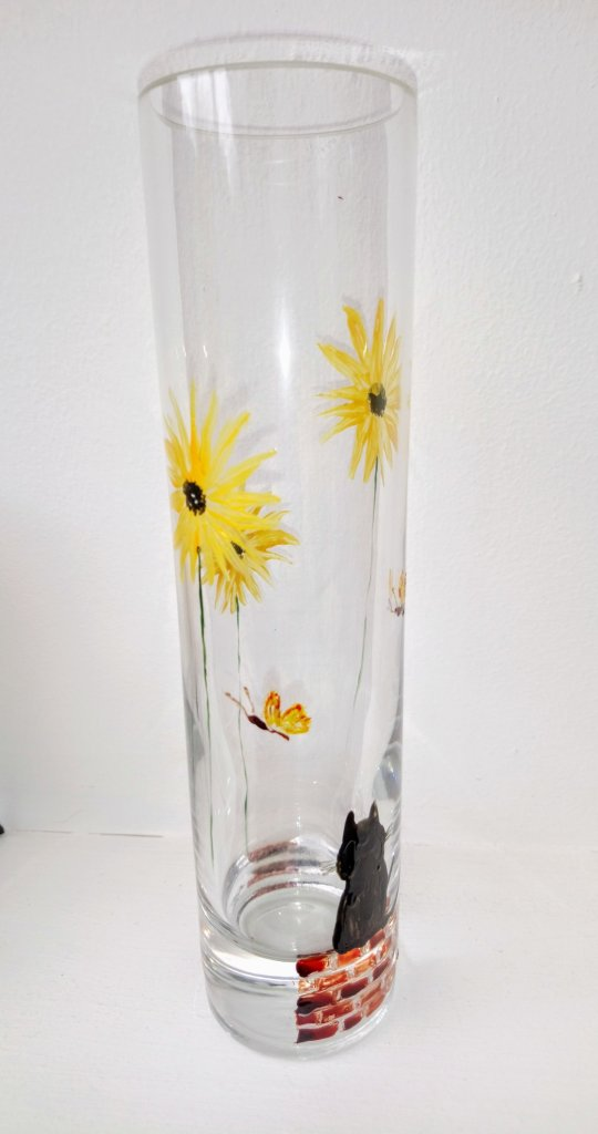 Sunflower bud vase side view with black cat and butterflies