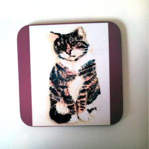 Coaster with a tabby cat