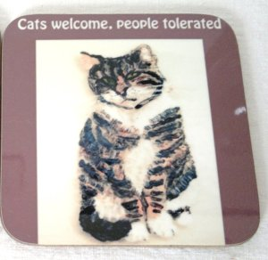 Tabby cat with text Cats Welcome, People Tolerated