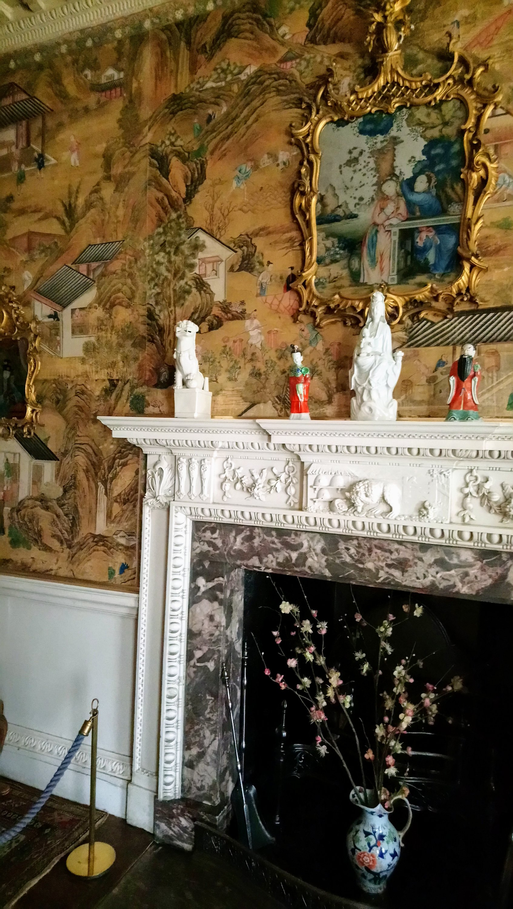 Saltram House interior Chinese wallpaper and fireplace
