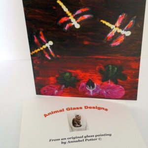 Card with dragonflies flying above a Lily pond, semi abstract style