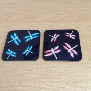 Dragonfly coasters with pink or turquoise dragonfly
