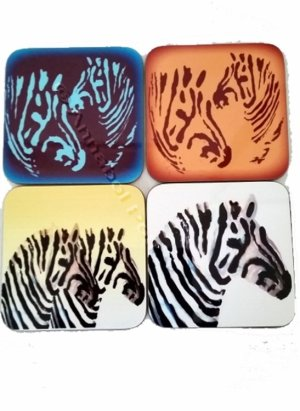 Set of wood coasters with zebra images