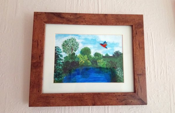 Painting of a garden with a pond and Kingfisher in flight