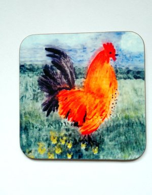 Coaster with a chicken on a farm