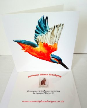 Kingfisher greeting card with a kingfisher in flight. Photographed with the back page too