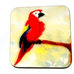 Parrot coaster with a wooden back and painting of a Macaw perched on a branch.