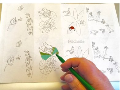 Wild animal flower stickers photographed with a felt tip pen
