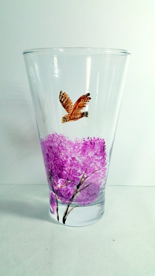 Owl vase with Spring tree hand painted