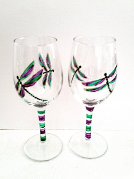 Hand painted wine glasses with purple and green dragonfly
