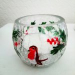 Glass Christmas candle holder hand painted with a robin and holly