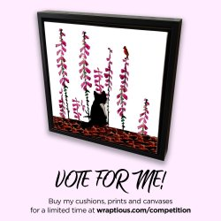 Cat canvas with a black and white cat looking at a bird on foxgloves