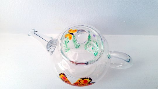 Mini Teapot with Original Butterfly Lavender Glass Painting. Photographed from above