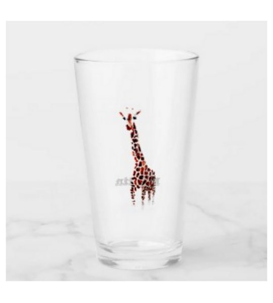 Glass with giraffe art and a name