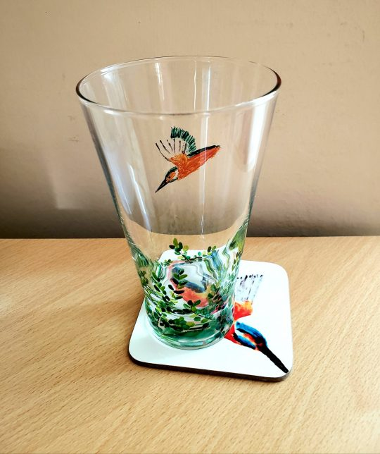 Kingfisher glass and coaster gift set