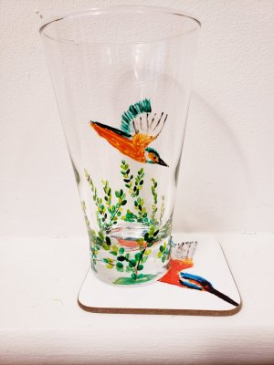 Kingfisher glass painting on a tumbler with a kingfisher coaster