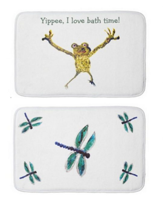 Custom bath mats showing a frog with text and a blue dragonfly bath mat
