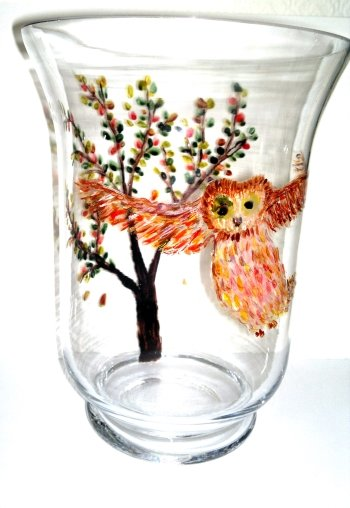 Glass vase hand painted with an owl and Autumnal tree