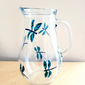 Large jug with original dragonfly glass paintings