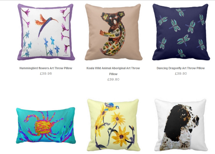 Home decor cushions with animal and floral designs