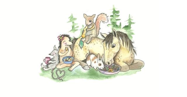 Kuvituskuvassa hevonen, orava, siili, jänis ja rotta aterioivat yhdessä metsän keskellä.