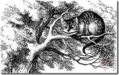 Le Chat du Cheshire est perché sur une branche d'arbre.