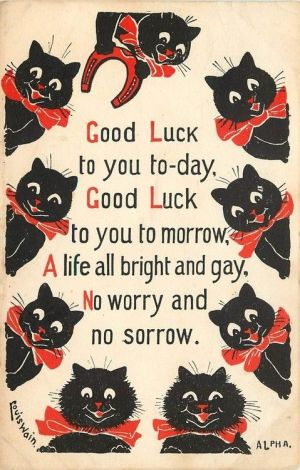 Louis Wain (English, 1860-1939). Good luck postcard with black cats.