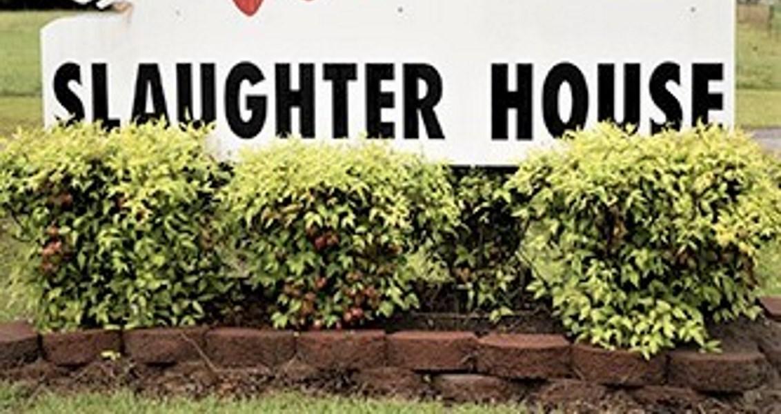 Sign on slaughterhouse