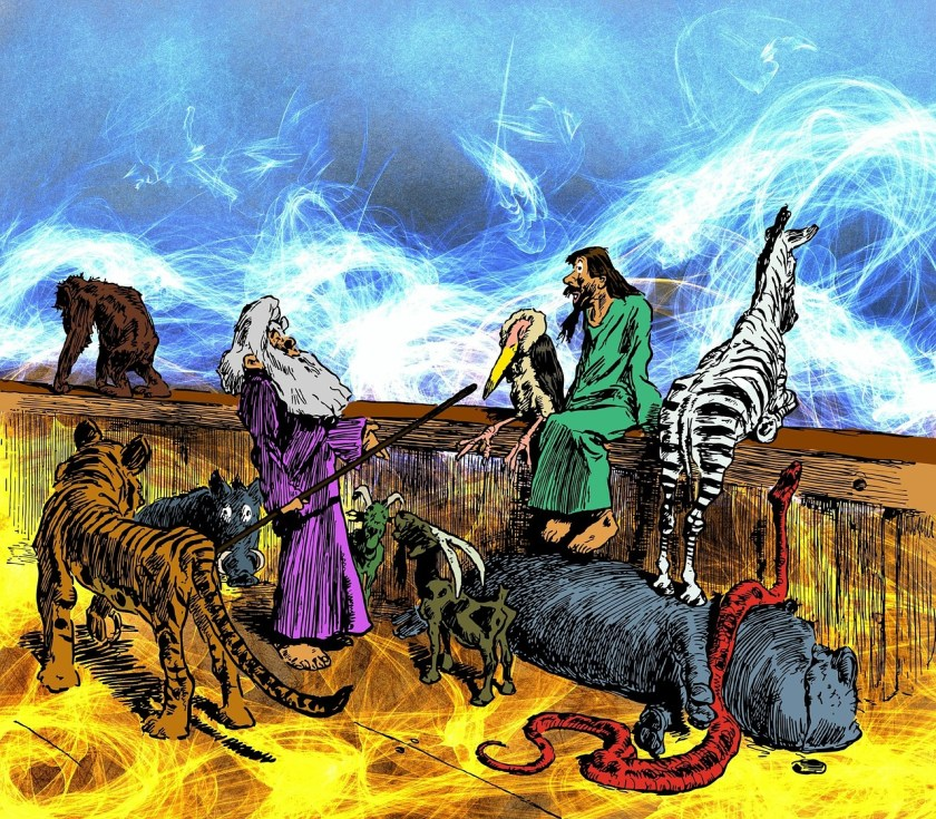 Cartoon of noah and animals on ark