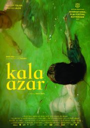 Cover image for the film Kala Azar - green coloured background in a paint stroke pattern depicting water with an undressed light-skinned woman with long dark hair swimming backwards while a ginger-haired light-skinned man with a beard swims towards her.