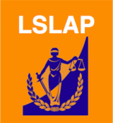 LSLAP logo containing a feminine figure in a long toga-like dress holding a balance of scales in one hand and a sword in the other. She is standing feet together and pointed outwards from each other, under which a laurel is centered. The upper left diagonal half has the orange background with the components of the logo in royal blue, of which the other diagonal half is reversed in colour.