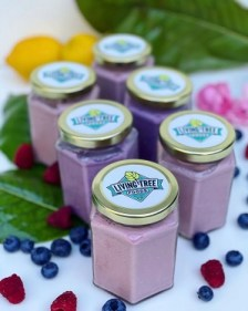 Photo of Living Tree Food's yogurt in glass jars with a background of green leaves, lemons, blueberries, and raspberries.