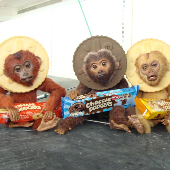Jammie Dodgers monkey puppets