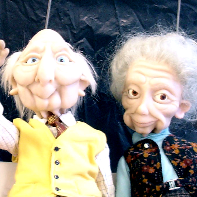Rodded cariacature puppets for Wonga
