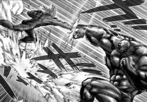 一拳超人:村田重畫了172話細節,餓狼硬抗黑光超合金雙拳火箭炮。
