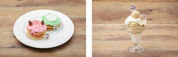 ▲おそ松の角とチョロ松のお皿のパンケーキ/▲一松と十四松のほうじ茶パフェ