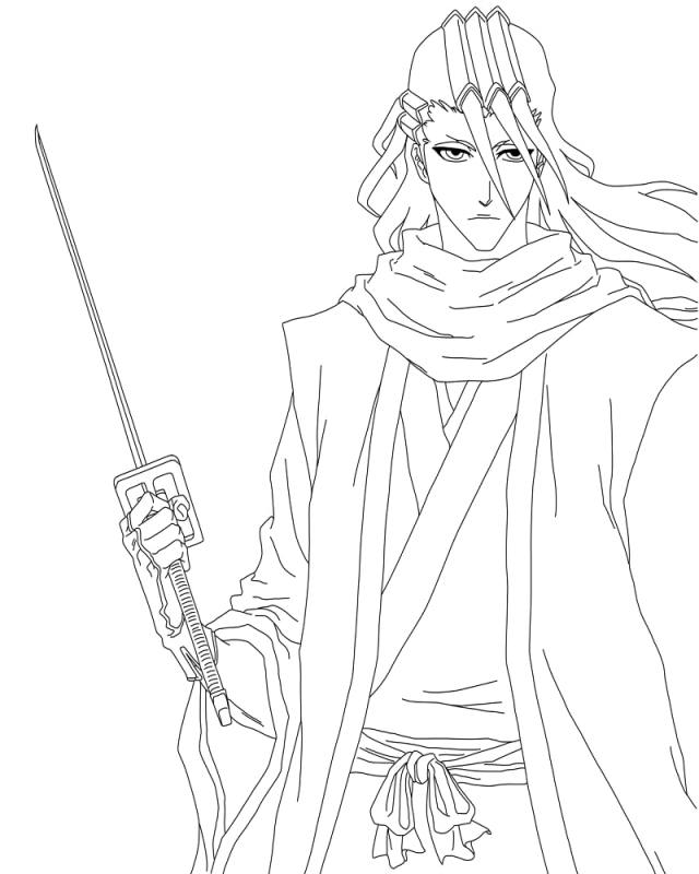 Printable Byakuya Kuchiki Coloring Pages - Anime Coloring Pages