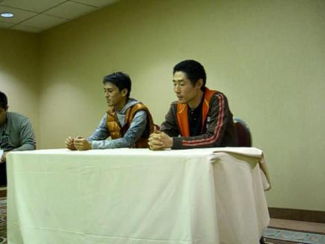 L to R: translator, Umehara, Tanaka