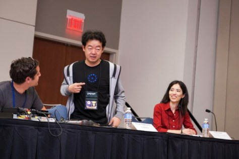 Hiroshi Nagahama entertains a crowd at Animazement 2013.