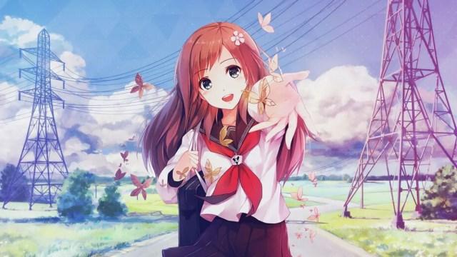Smiling kind anime girl