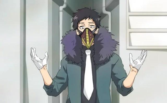 kai chisaki wearing mask and gloves