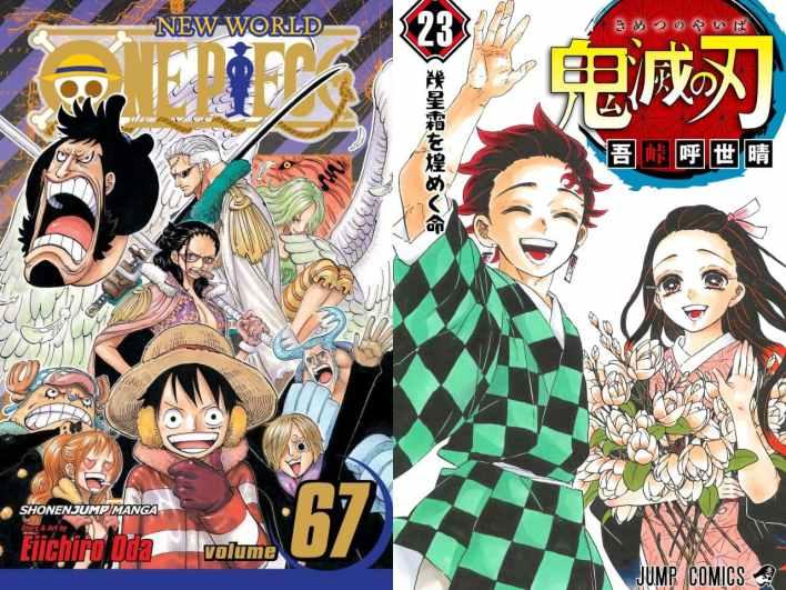 One Piece dan Kimetsu no Yaiba Sampul