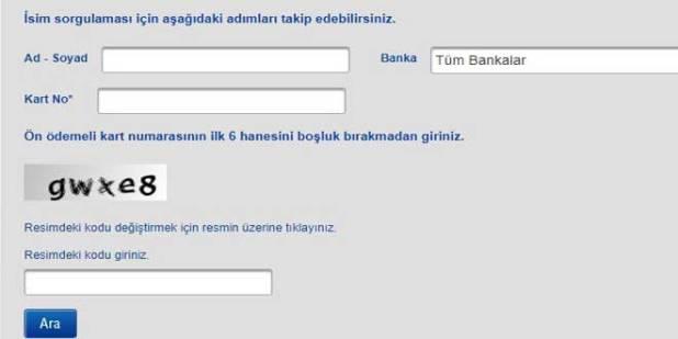 Unutulan Banka Hesabı Sorgulama Ekranı