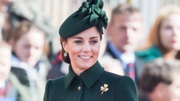 HOUNSLOW, ENGLAND - MARCH 17:  Catherine, Duchess of Cambridge attends the 1st Battalion Irish Guards St Patrick's Day Parade at Cavalry Barracks on March 17, 2019 in Hounslow, England. (Photo by Samir Hussein/Samir Hussein/WireImage)