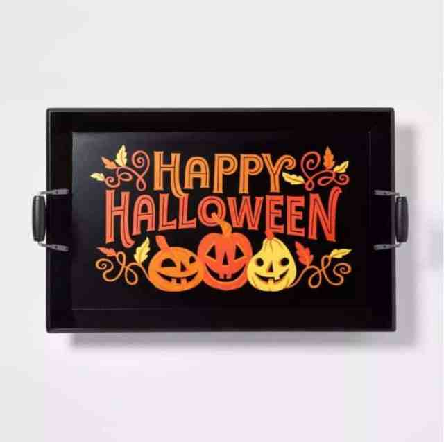 """Happy Halloween"" Wood Serving Tray"